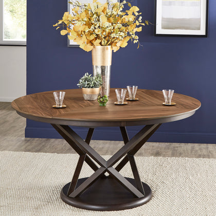 Two-Tone Espresso and Walnut Dining Table with Lazy Susan