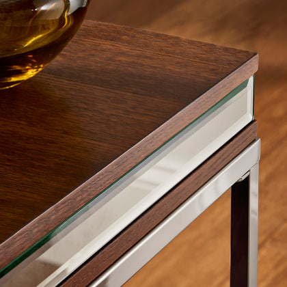 Oak and Chrome Trim End Table