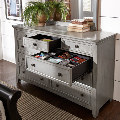 9-drawer Wood Modular Storage Dresser - Antique Grey Color Finish