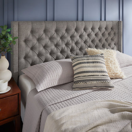Wingback Button Tufted Linen Fabric Headboard - Grey, King Size