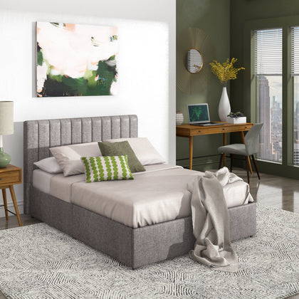 Grey Linen Upholstered Storage Platform Bed with Channel Headboard - Full Size (Full Size)