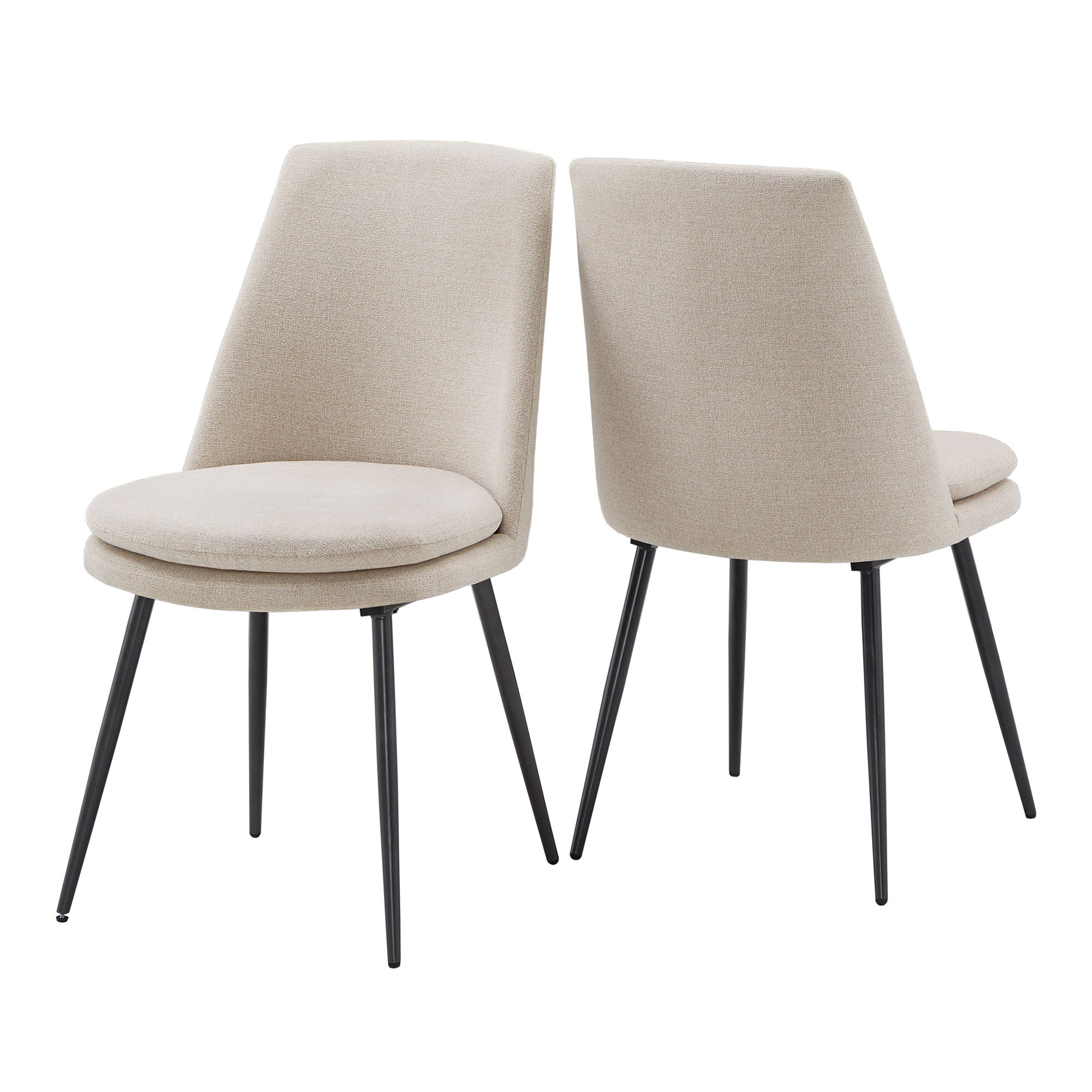 Chenille Fabric Dining Chairs (Set of 2) - Beige