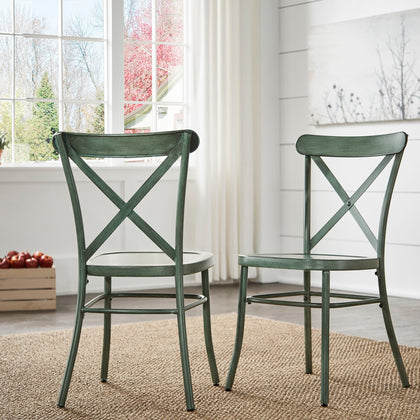 Antique Sage Green Metal Dining Chairs (Set of 2)