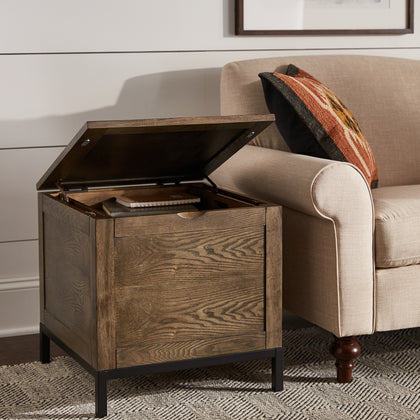 Storage Trunk End Table with Removable Tray