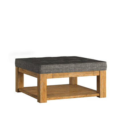 Pine Square Storage Ottoman Coffee Table - Grey Linen - Dimpled Tufts