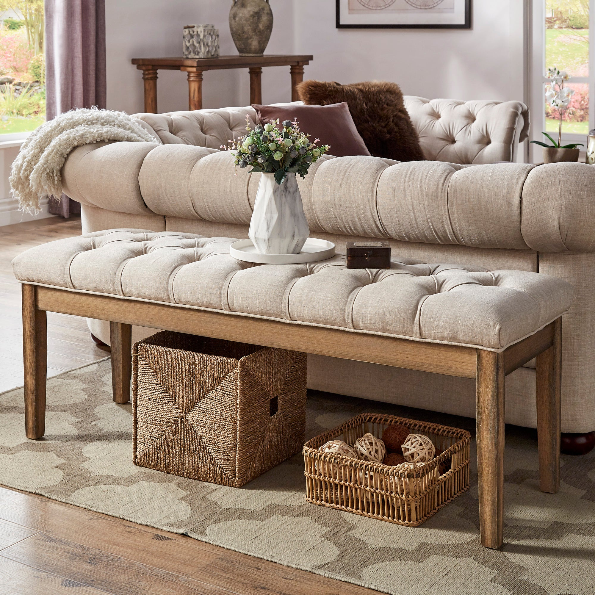 Premium Tufted Reclaimed 52-inch Upholstered Bench - Beige