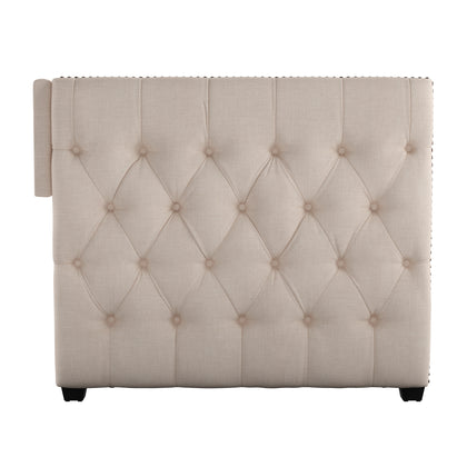 Tufted Nailhead Daybed with Trundle - Beige Linen, With Trundle