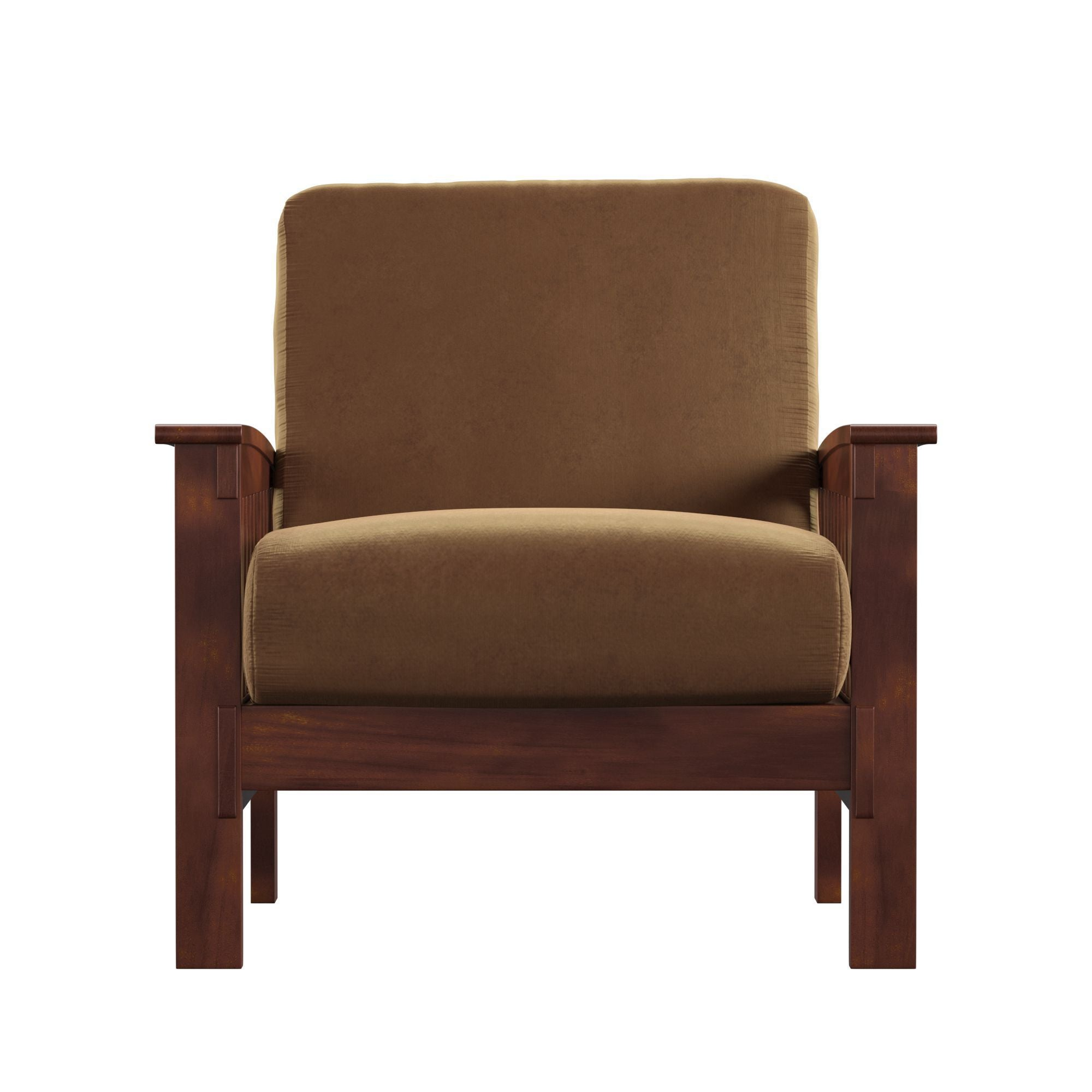 Mission-Style Wood Accent Chair - Rust Microfiber, Oak Finish