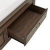 Wood Panel Platform Bed with Storage - Queen Size - Walnut Finish