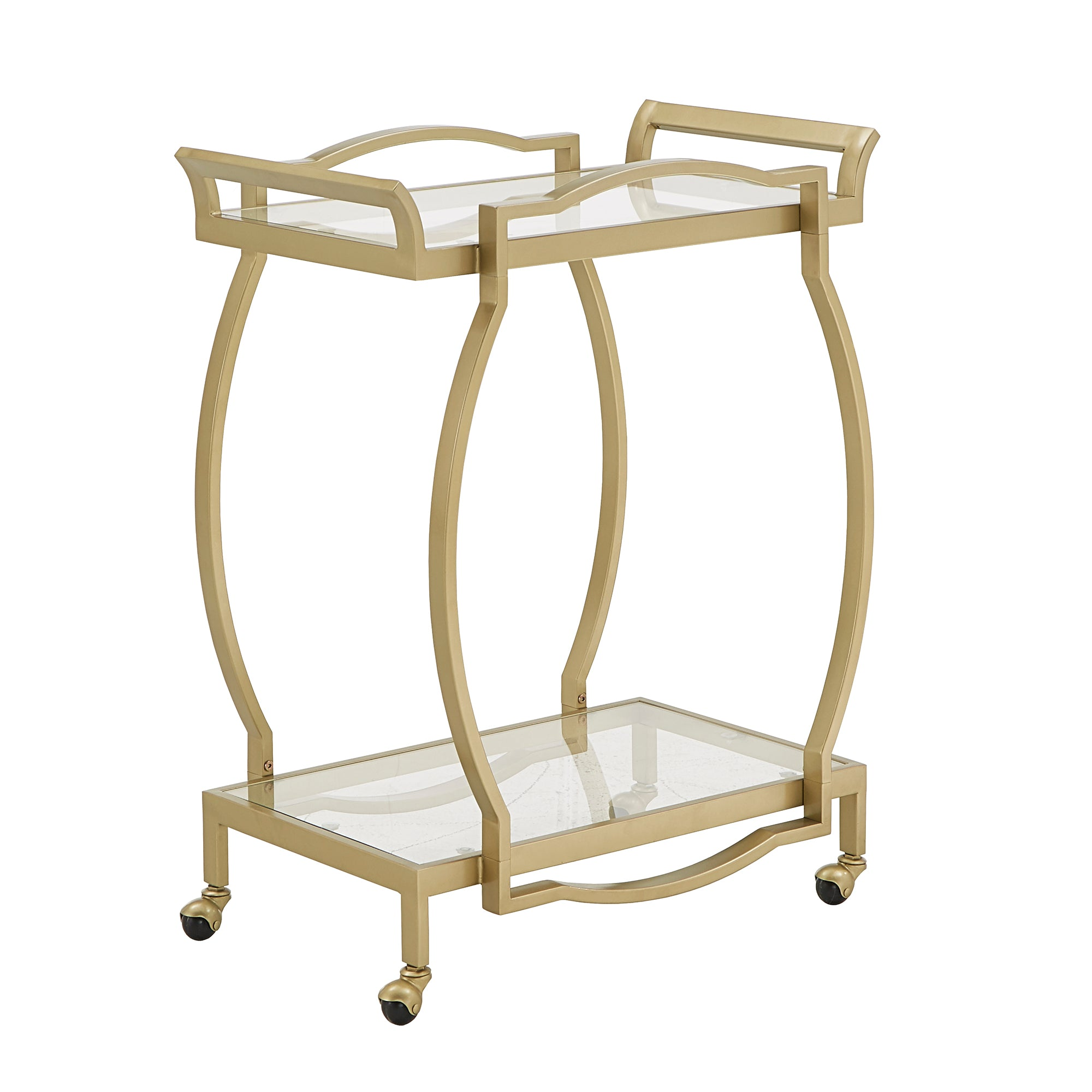 Gold Finish Clear Tempered Glass Metal Bar Cart