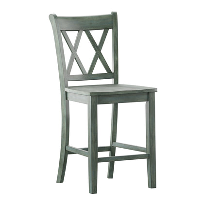 Double X-Back Counter Height Chair (Set of 2) - Antique Sage