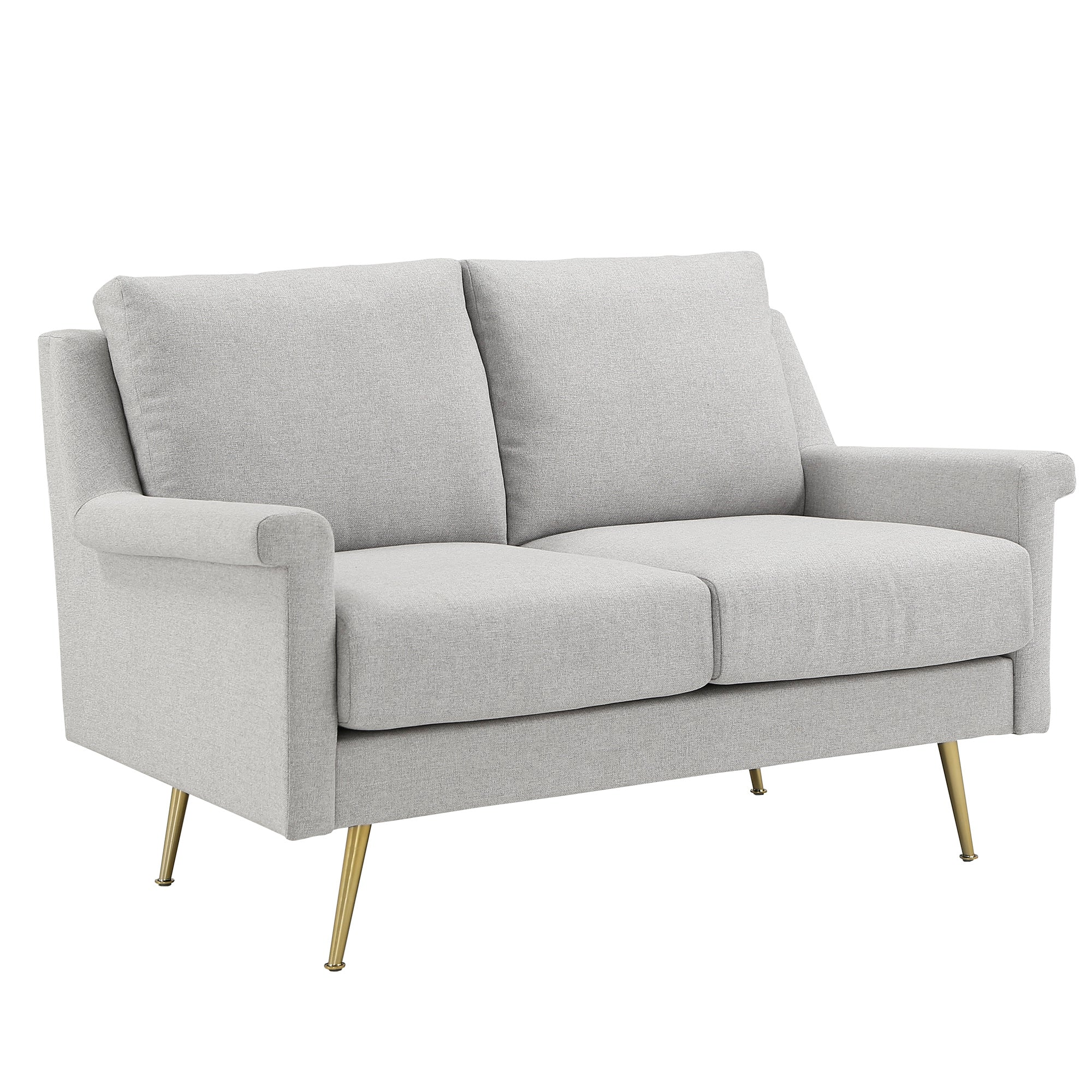 Grey Fabric Loveseat with Gold Metal Legs