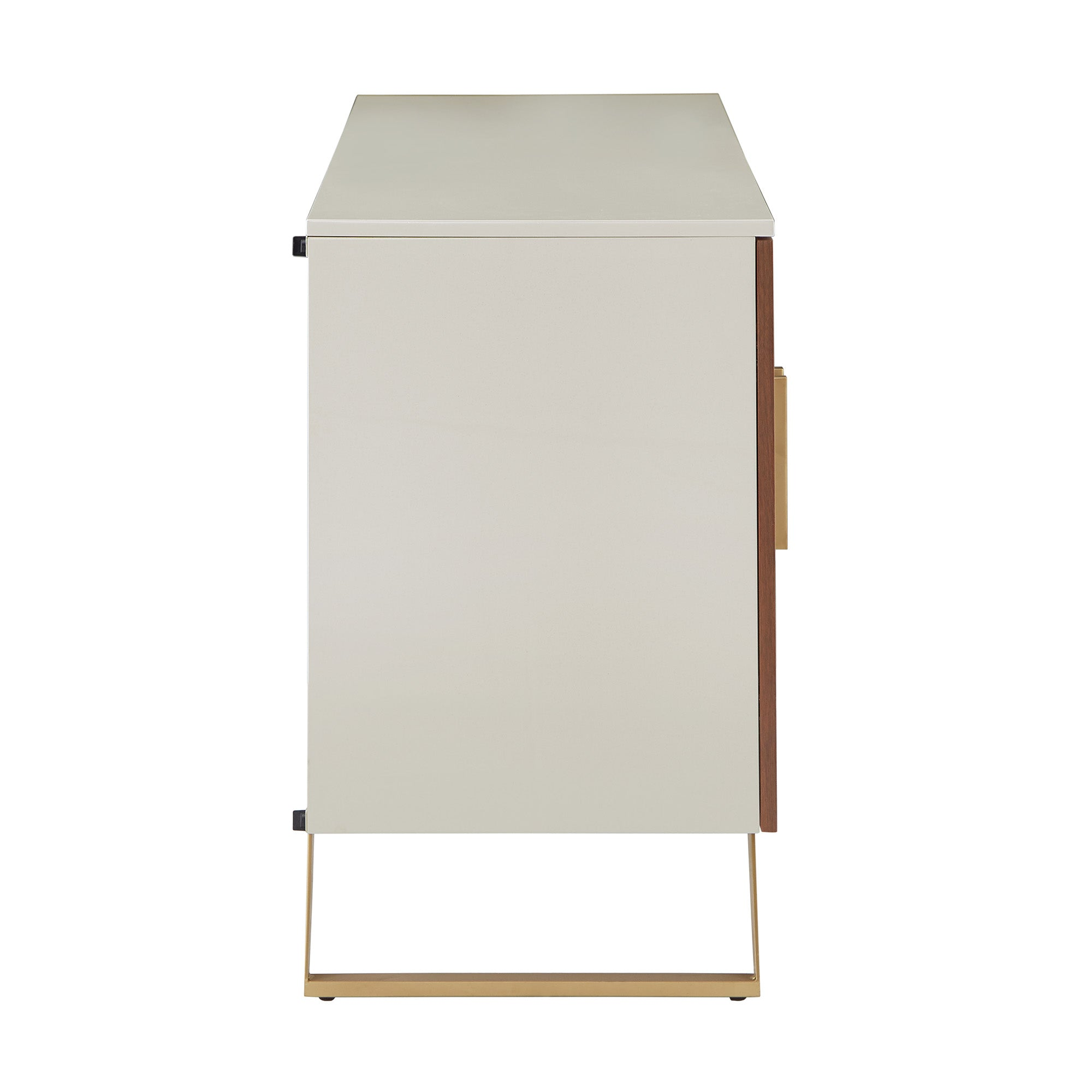 Two-Tone High Gloss White and Walnut Finish 3-Door TV Stand