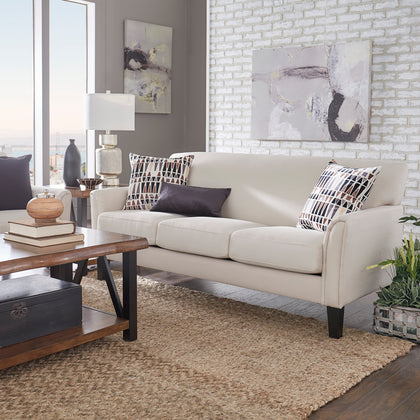 Modern Sofa - White Linen, Espresso Finish