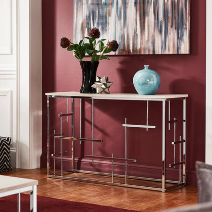 Chrome Finish and White Faux Marble Top Sofa Table