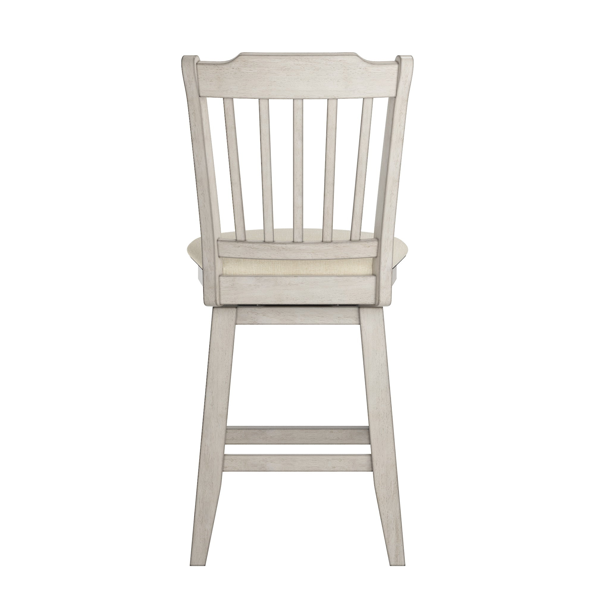 Slat Back Counter Height Wood Swivel Chair - Antique White