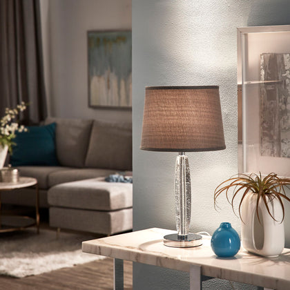 Chrome Finish Crystal Table Lamp