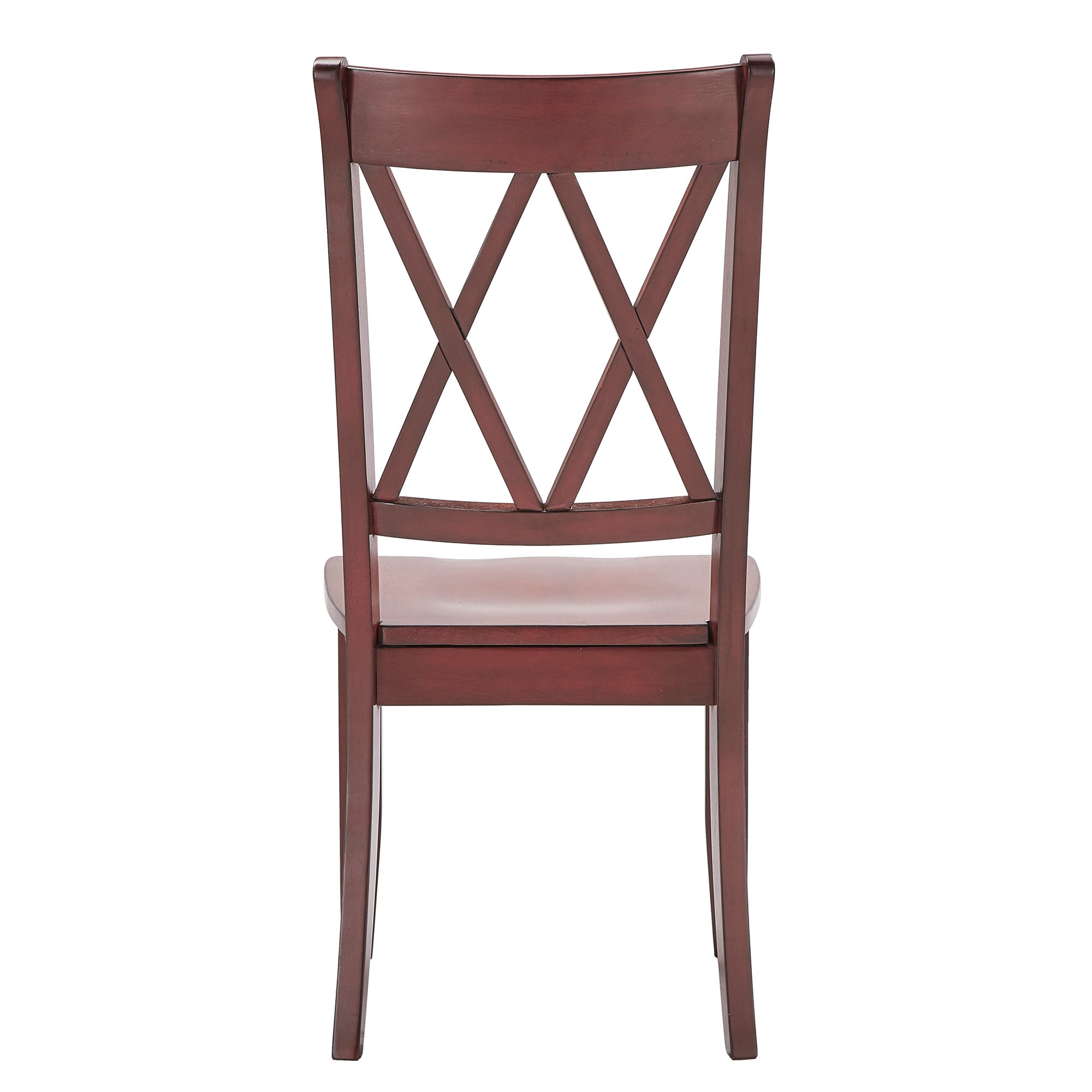 Double X Back Wood Dining Chair (Set of 2) - Antique Berry Red