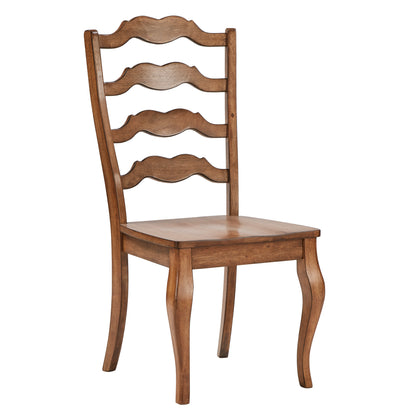Oak French Ladder Back Wood Dining Chair (Set of 2)