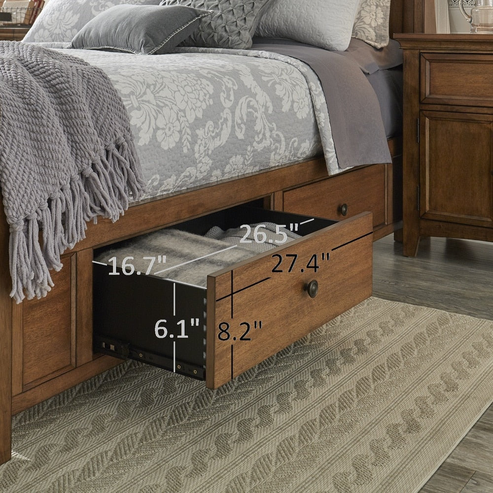 King-Size Wood Sleigh Platform Storage Bed - 1 Side of Storage - Antique Grey