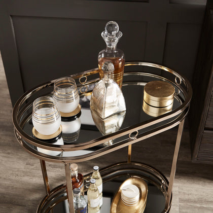Champagne Gold Oval Bar Cart