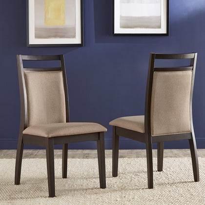 Espresso and Grey Linen Dining Chair (Set of 2)