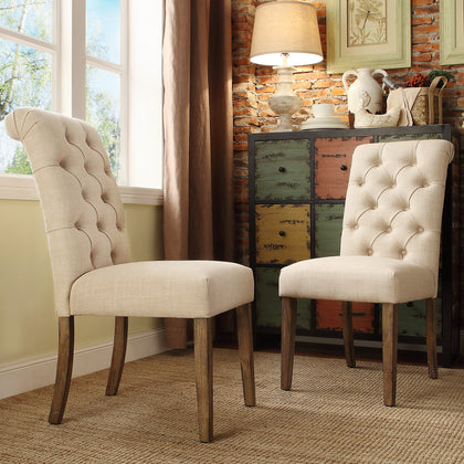 Premium Tufted Rolled Back Parsons Chairs (Set of 2) - Beige Linen