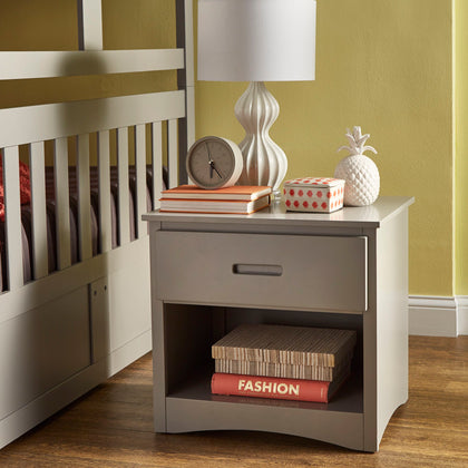 Grey 1-Drawer Nightstand