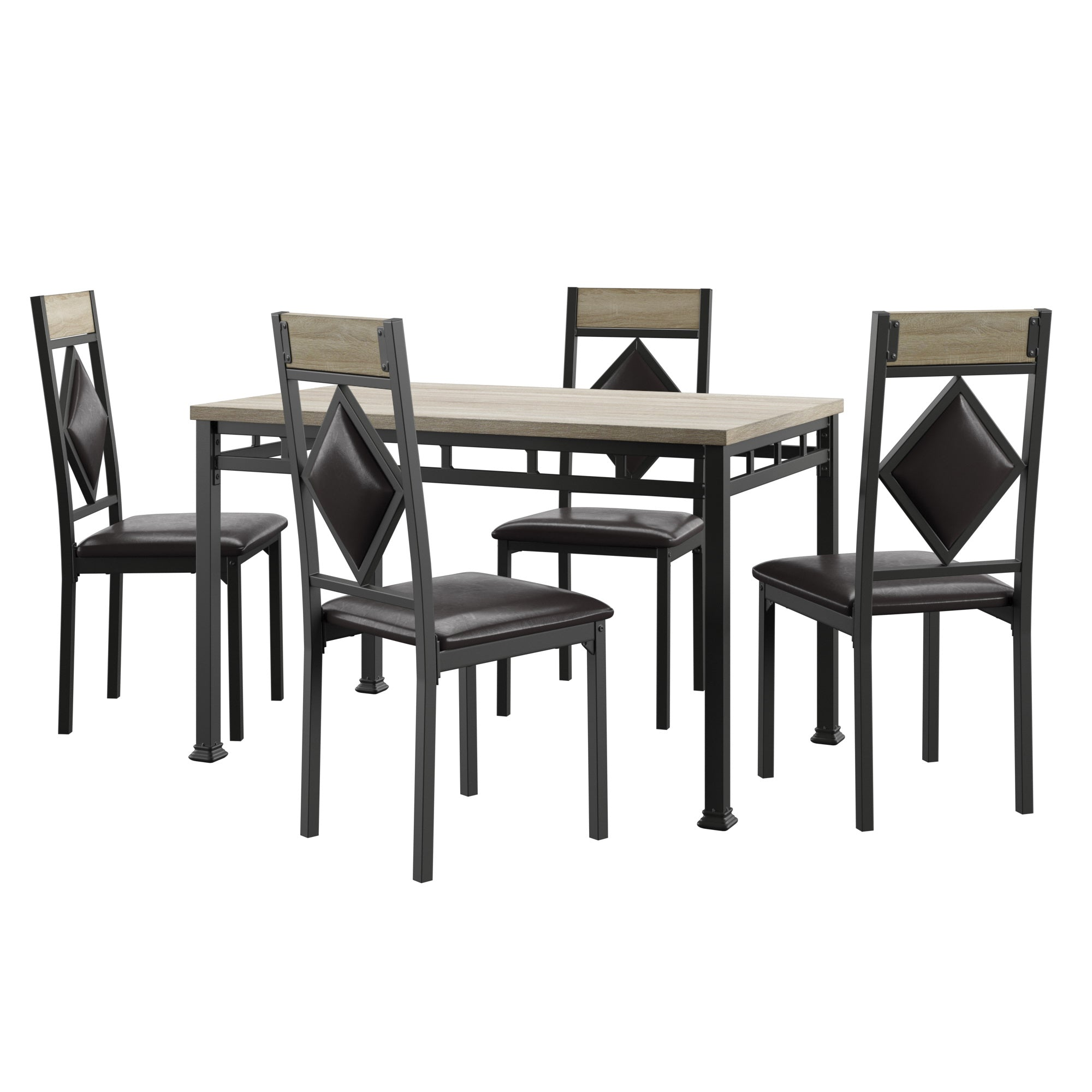 Black Finish 5-Piece Dinette Set