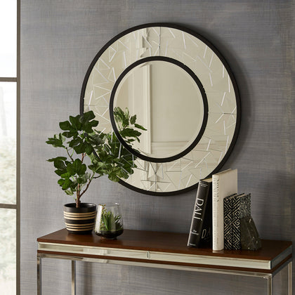 Black Finish Crackle Glass Round Wall Mirror