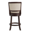 Dark Cherry Finish Beige Linen Swivel Chair