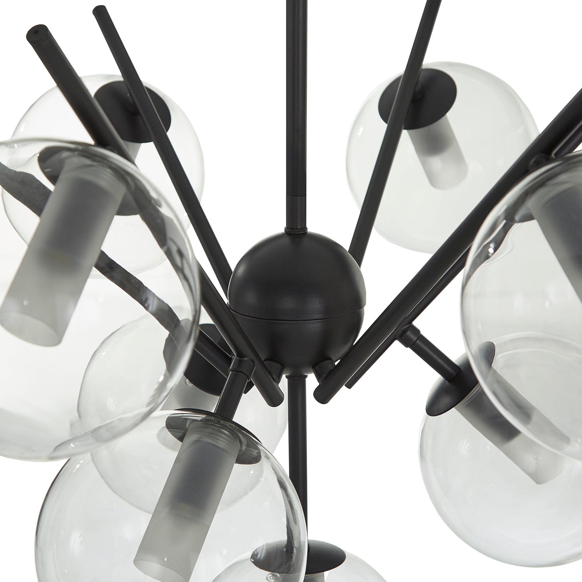 Matte Black Finish Bold 10-Glass Globe Pendant Light