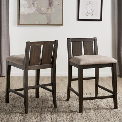 Two-Tone Fabric Counter Height Chair (Set of 2) - Dark Cherry Finish