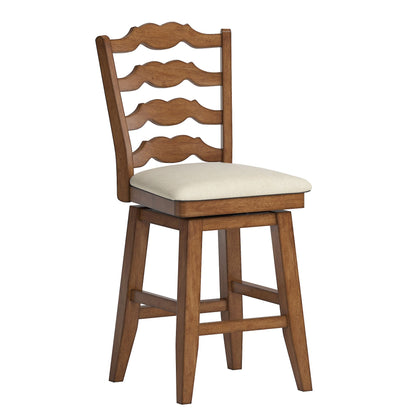 French Ladder Back Counter Height Swivel Chair - Oak Finish