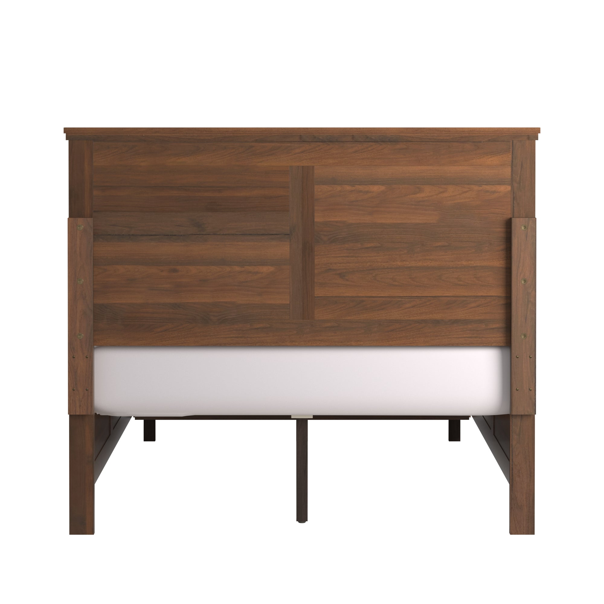 Wood Panel Platform Bed with Storage - Full Size - Walnut Finish