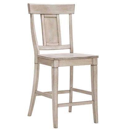 Panel Back Wood Counter Height Chair (Set of 2) - Antique White