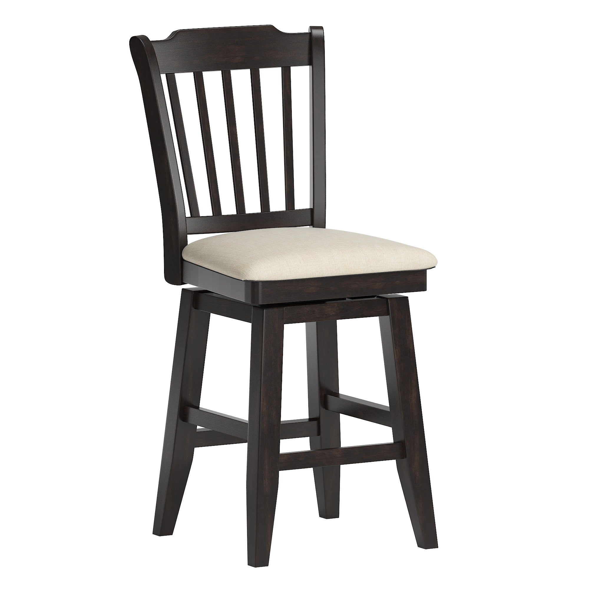 Slat Back Counter Height Wood Swivel Chair - Antique Black