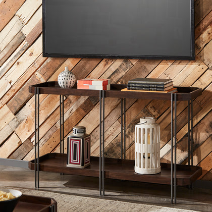 Dark Wood Finish Sofa Table with Clipped Corner Design and Metal Frame
