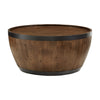 Wood and Metal Wine Barrel Shape Tables - Coffee Table Only