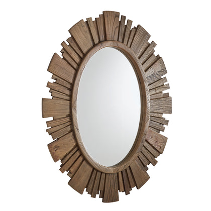 Oval Reclaimed Wood Sunburst Wall Mirror