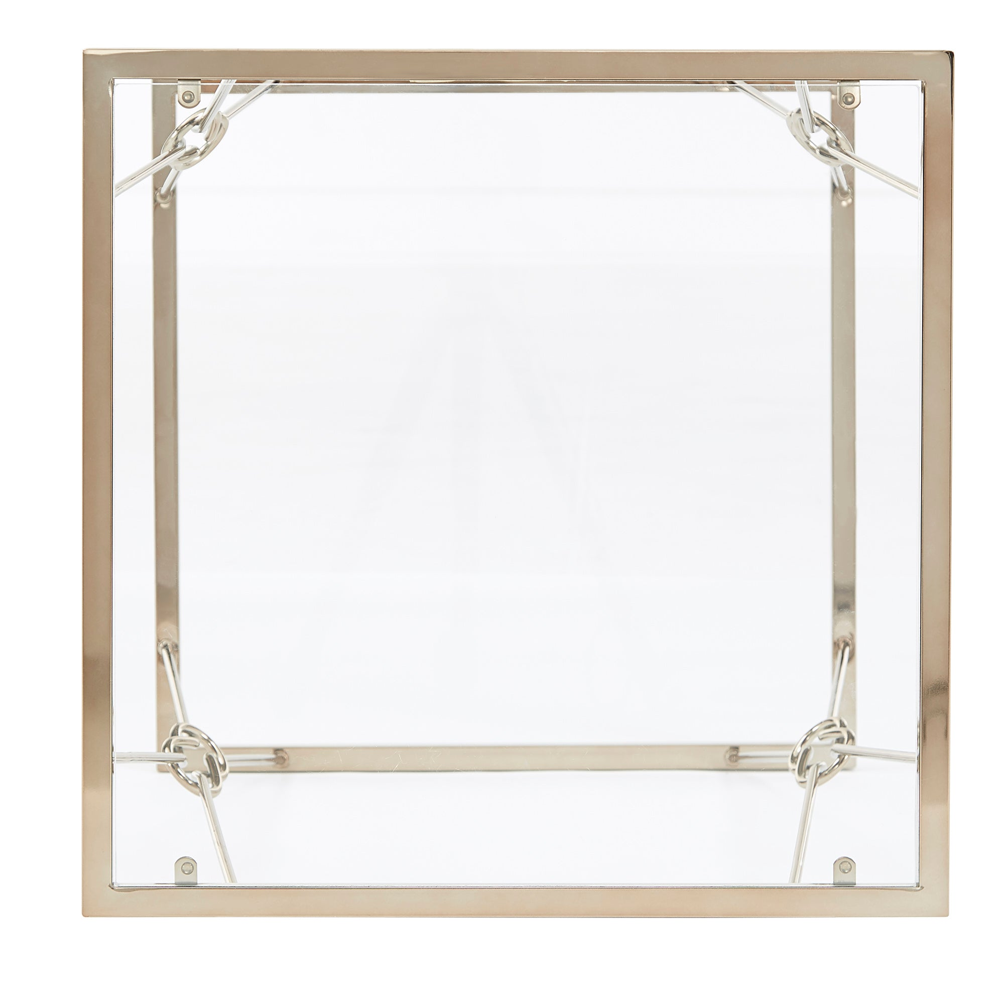 Champagne Gold Finish with Reef Knot Frame and Glass Top End Table
