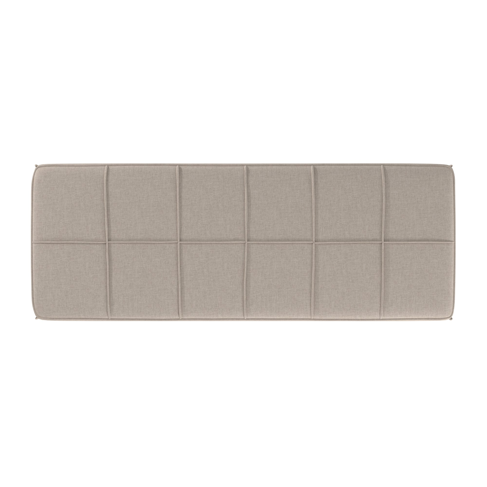 Black Finish Linen Upholstered Bench - Beige
