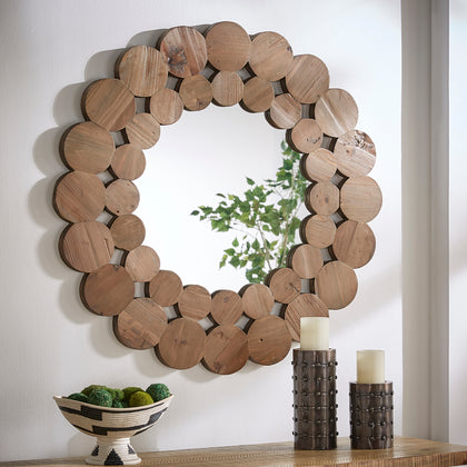 Natural Finish Reclaimed Wood Round Wall Mirror - Large