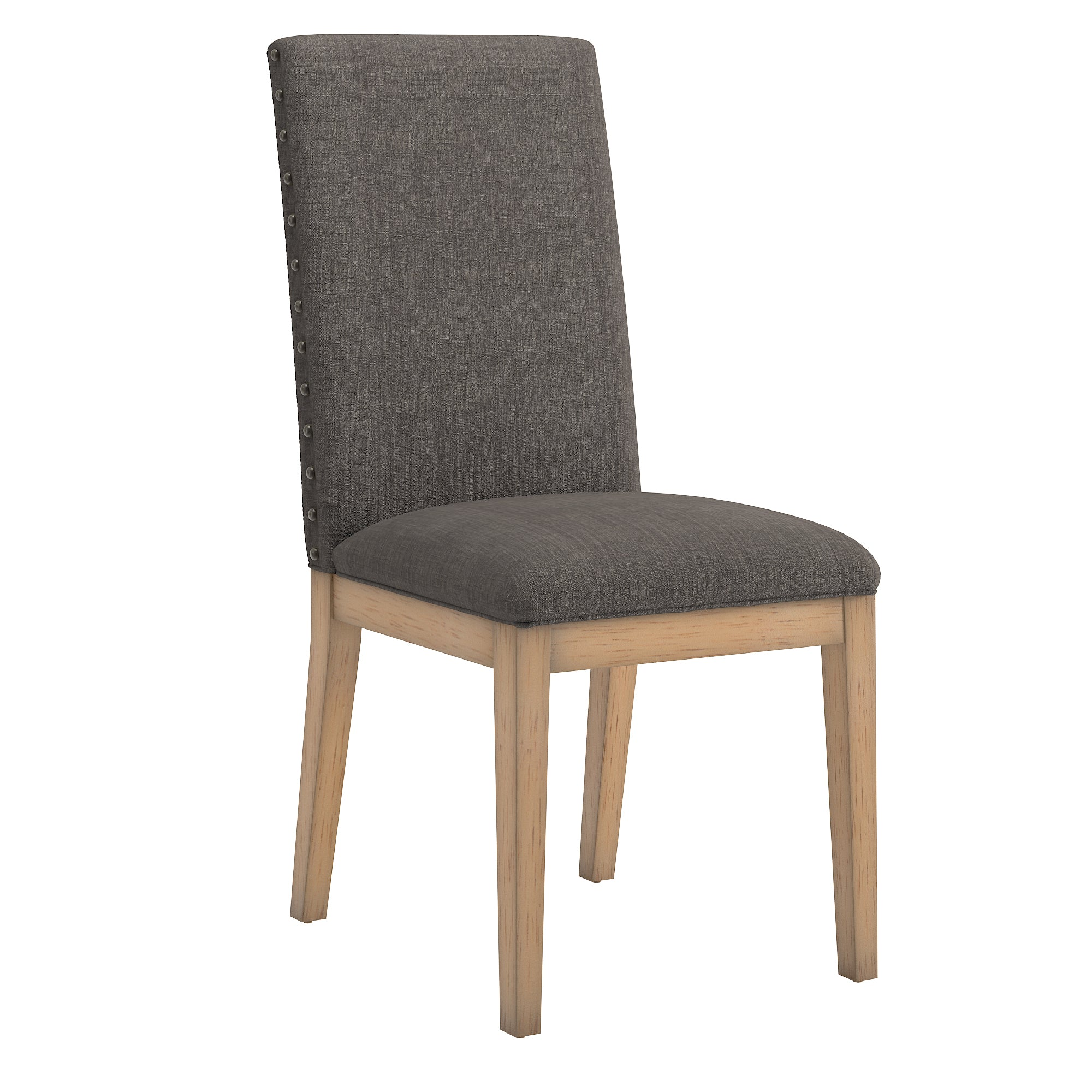 Nailhead Accent Parson Linen Dining Chair (Set of 2) - Charcoal