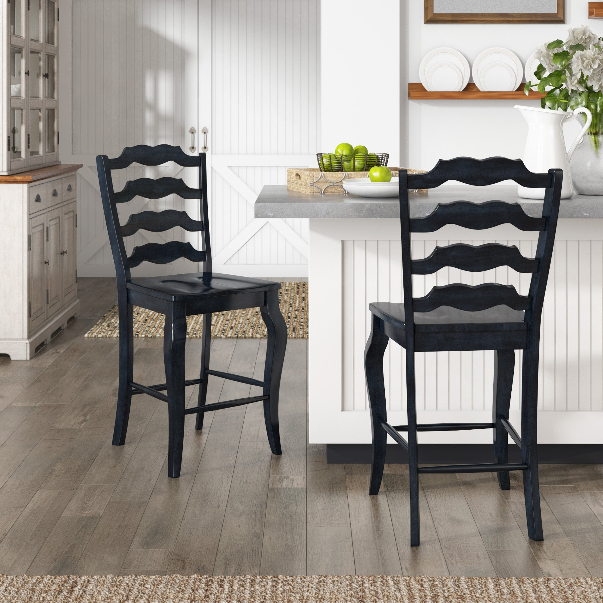 French Ladder Back Wood Counter Height Chair (Set of 2) - Antique Dark Denim Blue