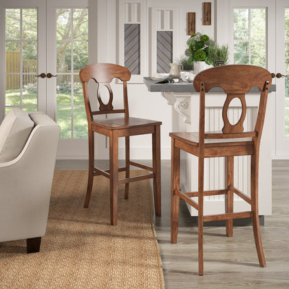 Oak Napoleon Back Bar Height Chairs (Set of 2)