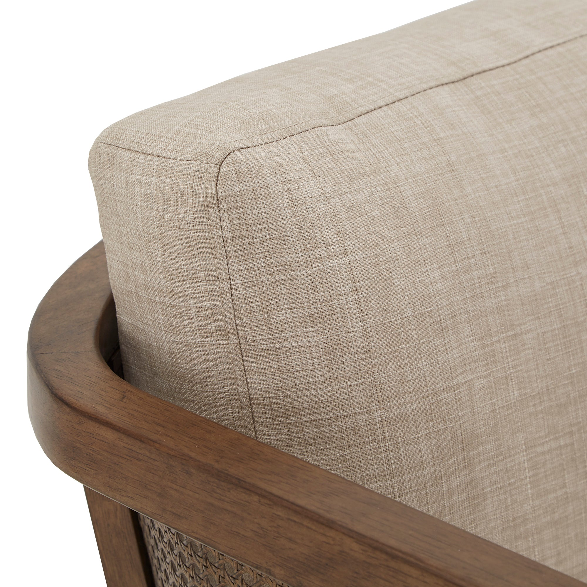 Walnut Finish Fabric Cane Accent Chair - Beige Linen