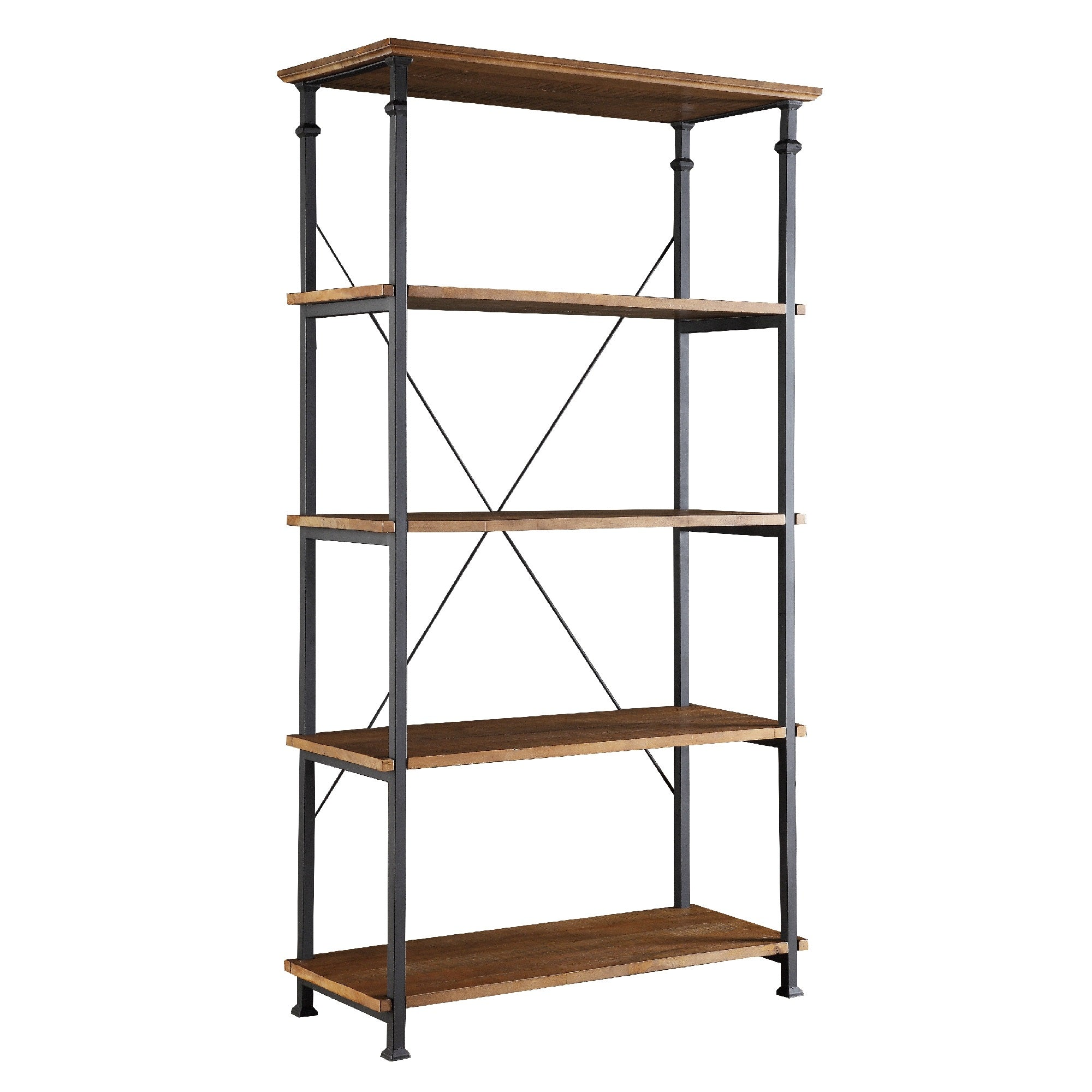 Vintage Industrial 40-inch Bookcase - Rustic Oak Finish