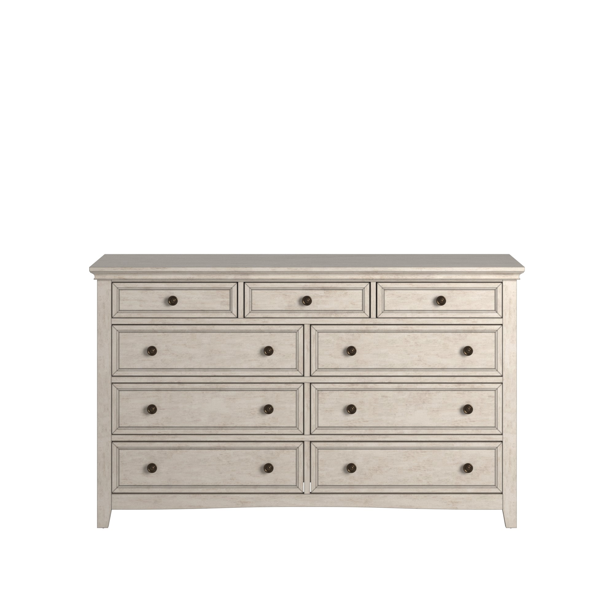 9-drawer Wood Modular Storage Dresser - Antique White Color Finish Dresser Only