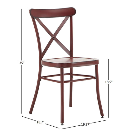 Antique Berry Finish Metal Dining Chairs (Set of 2)